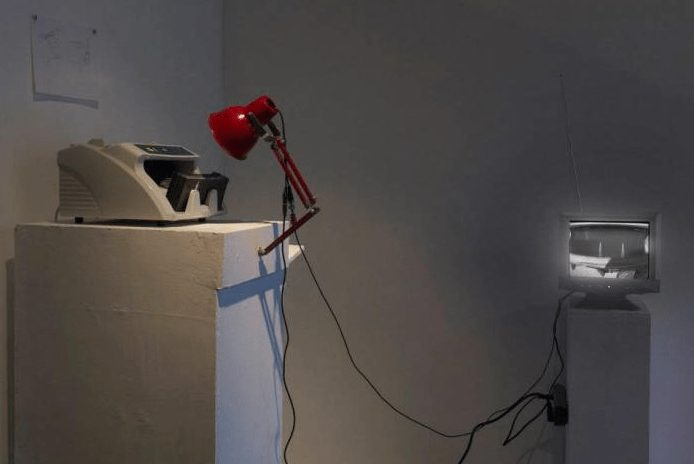 "A photograph of an installation titled, ""Phase Shift"" by Prayas Abhinav"