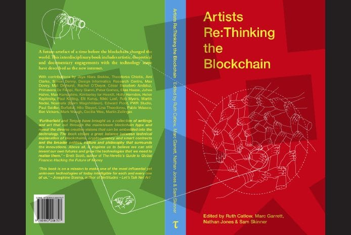 "Book cover of ""Artists Rethinking the Blockchain"" published by Torquetorque (UK)"